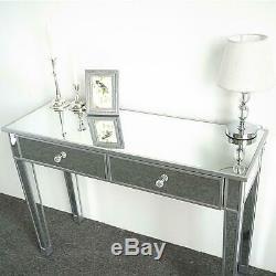 Moderne En Verre Vénitien Mirrored 2 Tiroirs Console Dressing Table D'argent