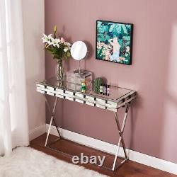 Moderne Miroir 3d Verre Dressing Table Ordinateur Bureau Bureau Vanity Console Accueil