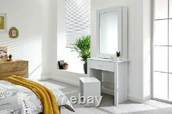 Moderne Table De Dressing Blanc Sliding Miroir & Tabouret Vanity Unit Hobson