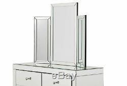 Monroe 7 Table Tiroir Mirrored Dressing Silver Meubles De Chambre À Coucher Vénitienne