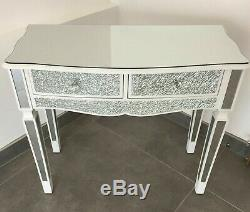 Mosaïque Mirrored Crackle Tableau Blanc Dressing Table Console Avec Tiroirs