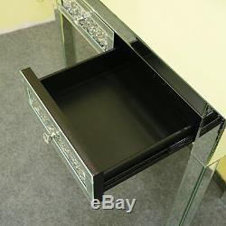 Mousseux Verre Mirrored Coiffeuse Console Hall D'entrée Double Tiroir Dresser
