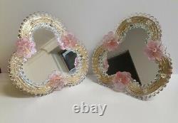Murano Vénitien Miroir En Verre Fleurs Roses Table Dressing Chic Français Or