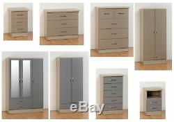 Nevada High Gloss Chambre Gamme Armoires Coffre Chevets Gris, Oyster