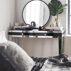 Noir Mirrored Coiffeuse Tiroir Laqué Chambre Verre Miroir Bureau Maquillage