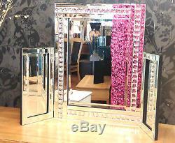 Nouveau Cristal Moderne Design Coiffeuse Miroir Bord Biseauté 87x63cm Grand