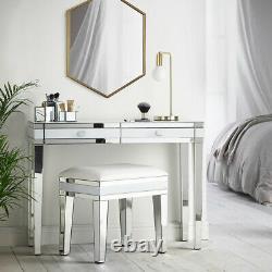 Nouveau Superbe Bureau De Vanité De Table Blanche Et Reflétée