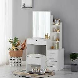 Nouvelle Table D'habillage Avec Tiroir De Miroir Coulissant De Tabouret Composent La Chambre À Coucher D'étagères De Bureau
