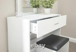 Ottawa Dressing Table Set Unité De Maquillage Dressing Bureau Tiroir & Tabouret Siège Blanc
