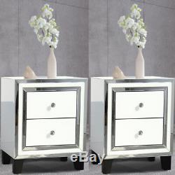 Paire Chambre Dressing Table De Chevet 2 Tiroirs En Verre Tables Mirrored Cabinet Blanc