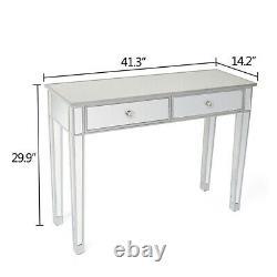 Premium Mirrored Glass Dressing Table Chambre À Coucher Bureau De Maquillage De Chevet Avec 2 Tiroirs