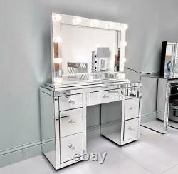 Rétroviseur 7 Tiroirs Dressing Table Vanity Dresser Entièrement Assemblé Poignées En Cristal