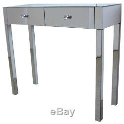 Romano Verre Mirrored Coiffeuse, Table Vanity, Bureau Console Au Royaume-uni