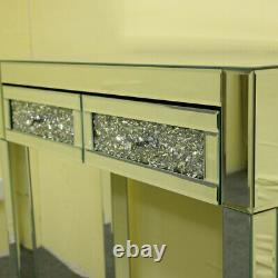 Royaume-uni Miroir En Verre 2 Tiroirs Diamond Dressing Table Console Make-up Chambre À Coucher