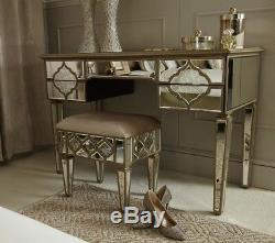Sahara Verre Antique Gold Mirrored 5 Console Tiroir Coiffeuse Chambre