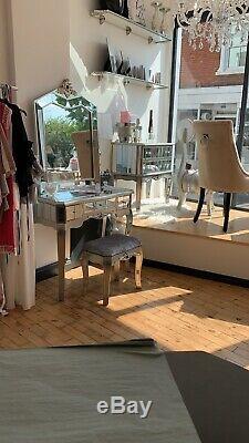 Set Of Antique Style Mirrored Verre Argente Coiffeuse Avec Miroir Tabouret &