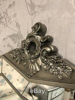 Set Of Antique Style Verre Mirrored Argente Coiffeuse Avec Tabouret Et Miroir