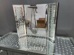 Silver Floating Cristal Miroir 7 Tiroirs De La Table De Dressing Et Kit Miroir