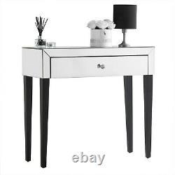Silver Mirrored Dressing Table 1 Tiroir Dresser Desk Vanity Mirrored Finish