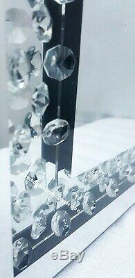 Sparkly Argent Miroir Mural Flottant Cristal Hall D'entrée Enclosed Dressing 120x40cm