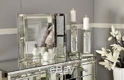 Sparkly Concassée Cristal De Diamant Glitz Trois Fois Vanity Coiffeuse Miroir