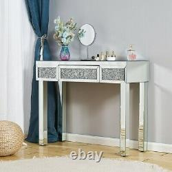 Sparkly Mirrored Dressing Table Miroir Tabouret Make Up Desk Chair Vanity Set Accueil