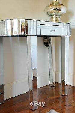 Style Art Déco Console Mirrored Coiffeuse Garniture Avec Un Argent Tiroir