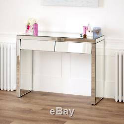 Style Des Années 50 À 2 Tiroirs Angled Mirrored Coiffeuse Console Salle Verre Ven25