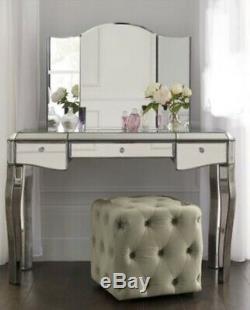 Suivant Juliette Étain Or Mirrored Coiffeuse & Miroir Rrp £ 450.00