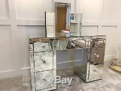 Superbe Classique En Verre Mirrored Chambre 7 Tiroirs Coiffeuse