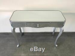 Table Contemporaine Mirrored Vénitienne Dressing Table Console Avec Garniture Argent