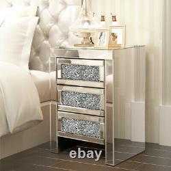 Table D'armoire De Chevet Chambre En Verre Miroir En Cristal 3/2 Tiroirs Tables D'habillage
