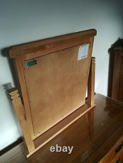 Table D'habillage En Chêne Massif, Miroir, Tabouret Et Dessus En Verre