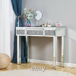 Table D'habillage En Miroir Avec Tiroir Maquillage Diamond Glass Console Desk Bedroom Uk