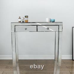 Table D'habillage En Verre Miroir 2 Tiroir Chambre À Coucher Table Table Dresser Desk Console