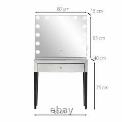 Table D'habillage Hollywood Ampoules Miroir Usb Chargeur Haut-parleur Bluetooth Rosegold Set