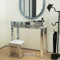 Table D'habillage Miroir 2 Tiroirs Table & Cuir Stool Vanity Set