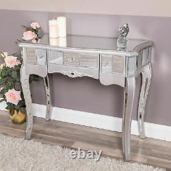 Table D'habillage Miroir Argentée Avec Tiroirs Verre Venetian Bedroom Hallway Chic