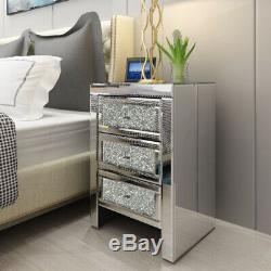 Table De Chevet Cristal Mirrored Cabinet Verre 3 Tiroirs Armoire Chevet
