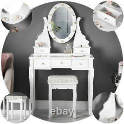 Table De Coiffeuse Blanche Miroir Miroir Led Lumières 5 Tiroirs Tabouret