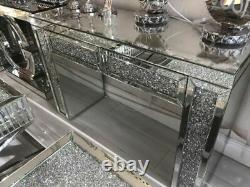 Table De Dressage Miroir En Cristal Broyé Avec 2 Tiroirs, Écrasement Diamant 120cm