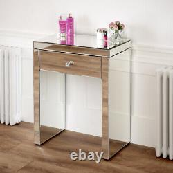 Table De Dressing Compacte Miroir Vénitienne Avec Tabouret Noir Ven16-ven05b