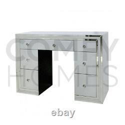 Table De Dressing En Verre Blanc Miroir 7 Tiroirs Livraison Gratuite