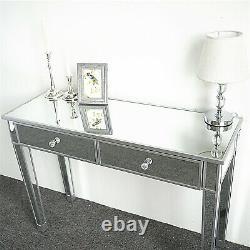 Table De Dressing En Verre Miroir Avec 2 Tiroirs Maquillage Vanity Bureau Dressing Chambre À Coucher