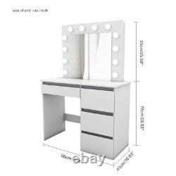 Table De Dressing Moderne Bureau De Maquillage De Bijoux Avec Miroir, Led Light & 4 Tiroirs Blanc