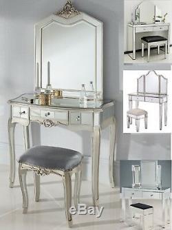 Table De Mirrored Vanity Dressing Commode Console Tiroir Chambre Tabouret Miroir Set