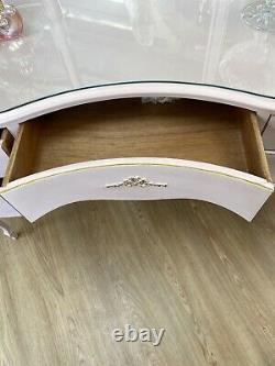Table De Pansement Serpentine En Forme De Rein Rose Avec Miroirs Et Verre De Protection