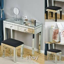 Table De Toilette De Tiroir En Verre Miroir, Tabouret Et Table De Chevet Ensemble Chambre À Coucher