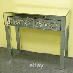 Table De Vanité Mirrored Dresser Sparkly Crystal 2 Drawers Dressing Table Console De Table