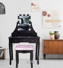 Table Dressing Black Avec Miroir À Led (5 Tiroirs) Bureau De Maquillage De La Chambre À Tabouret